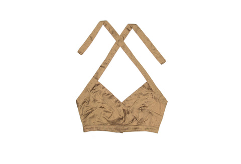 Golden Brown Nude Silk Halter Top