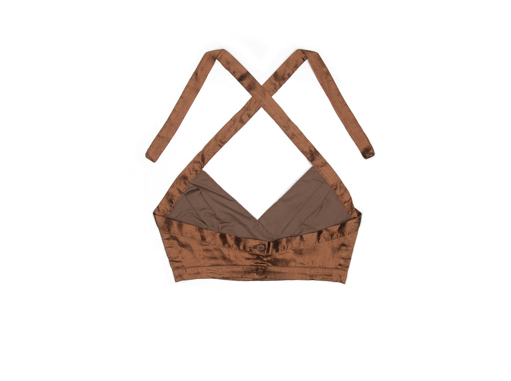 Chocolate Brown Nude Silk Halter Top