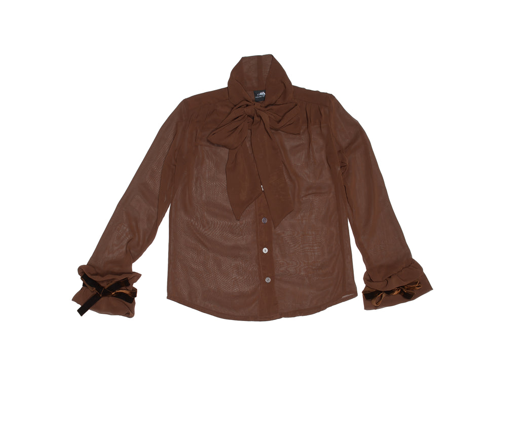 Chocolate Brown Victorian Silky Pussybow Shirt