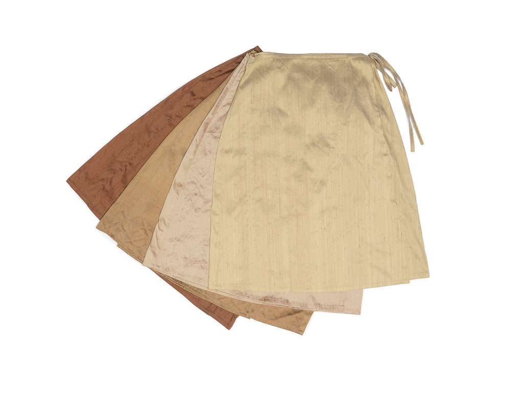 Golden Brown Nude Silk Wrap Skirt