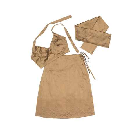 Golden Brown Nude Silk Set