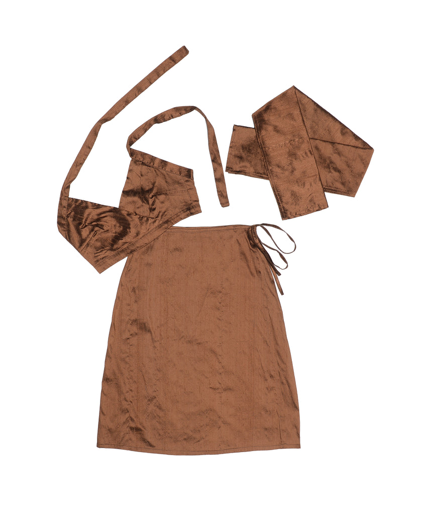 Chocolate Brown Nude Silk Set