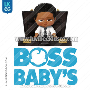 Boss Baby | Add Your Own Text | Briefcase - African American Boy [Printed Transfer] - LuvibeeKidsCo