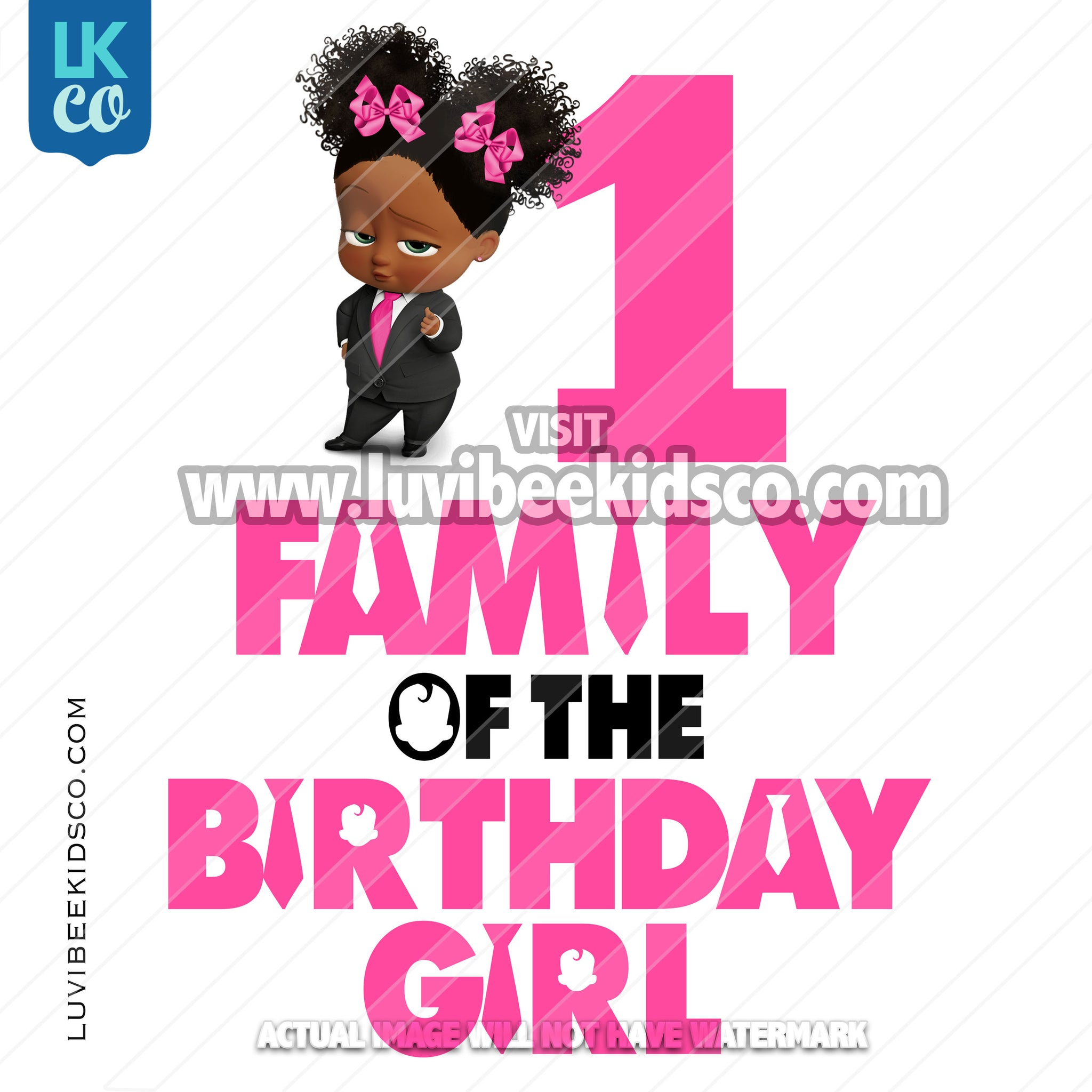 Boss Baby Iron On Transfer | Family of the Birthday Girl - Afro Puffs