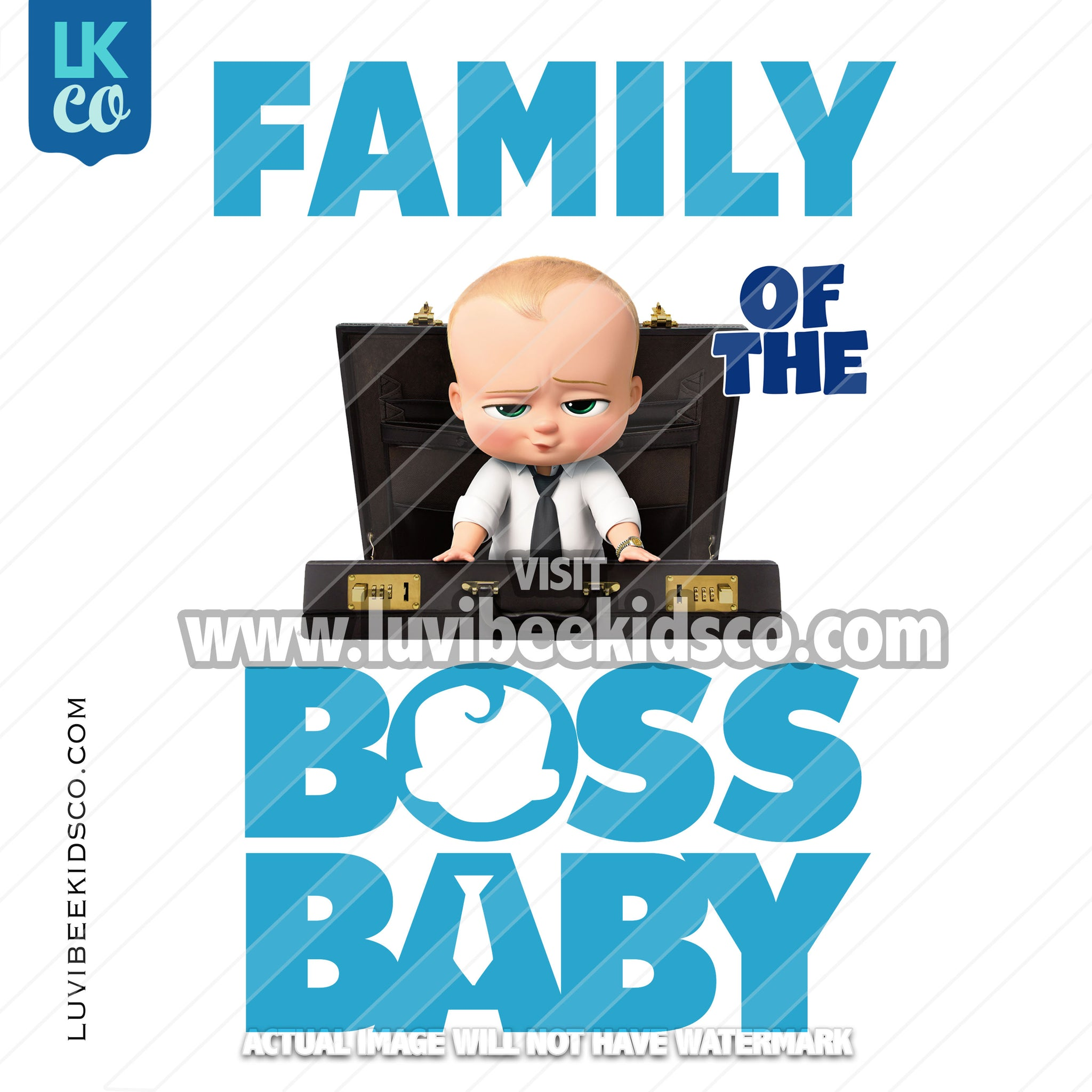 Boss Baby Iron On Transfer | Family of the Birthday Boss - Blue Baby Boy - Briefcase - LuvibeeKidsCo