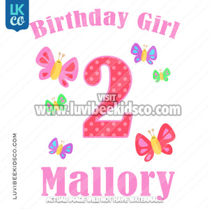 Butterfly Heat Transfer Design - Birthday Girl - LuvibeeKidsCo