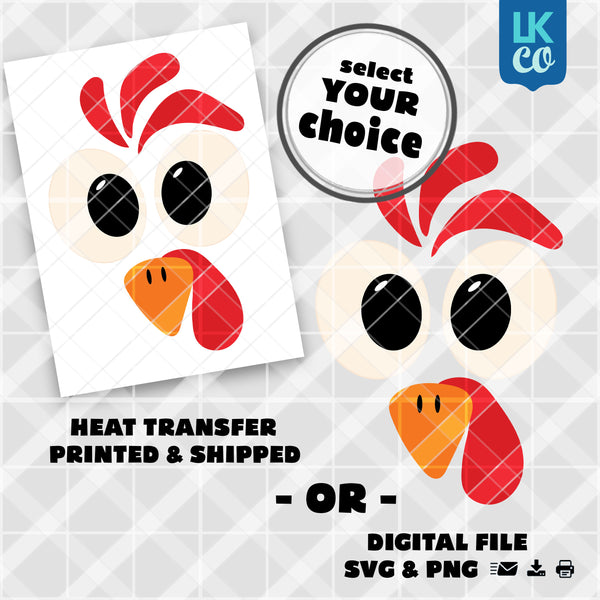 Cute Thanksgiving Turkey Face Heat Transfer Design - Select Printed Transfer or Digital SVG & PNG