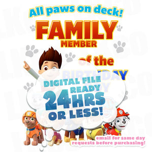 Paw Patrol Iron On Transfer - All Paws On Deck | Family Members Add-on
