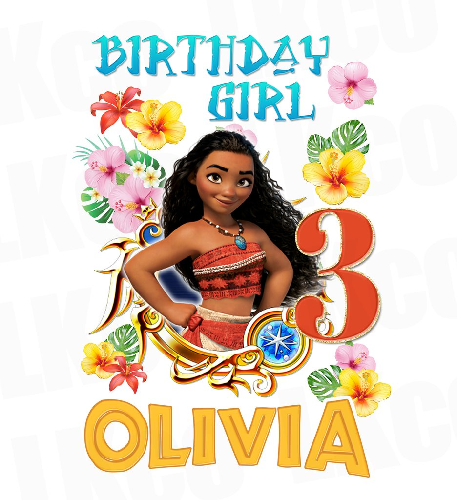 Moana Iron On Transfer | Birthday Girl | Blue 02 - LuvibeeKidsCo