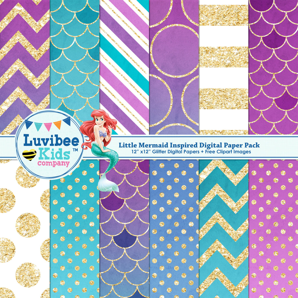 Little Mermaid Inspired Digital Paper Pack | Bonus Clipart Included Instant Download - LuvibeeKidsCo