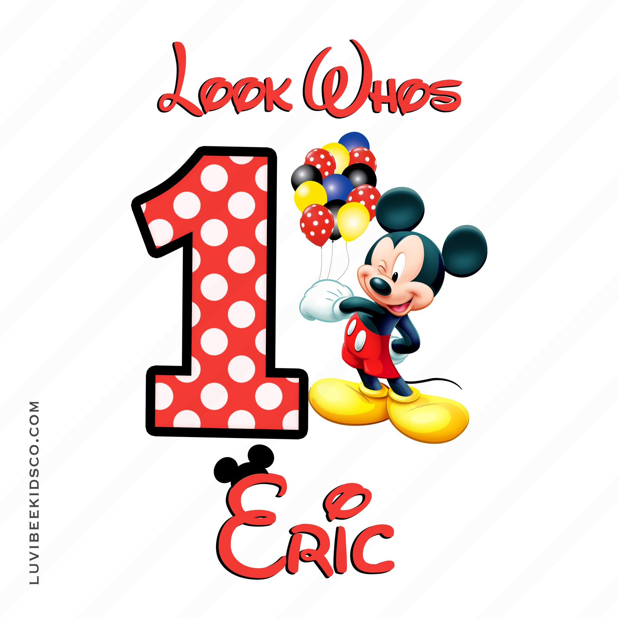 Mickey Mouse Iron On Transfer | Balloons - LuvibeeKidsCo