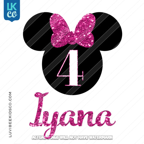 Minnie Mouse Iron On Transfer | Faux Pink Glitter - LuvibeeKidsCo
