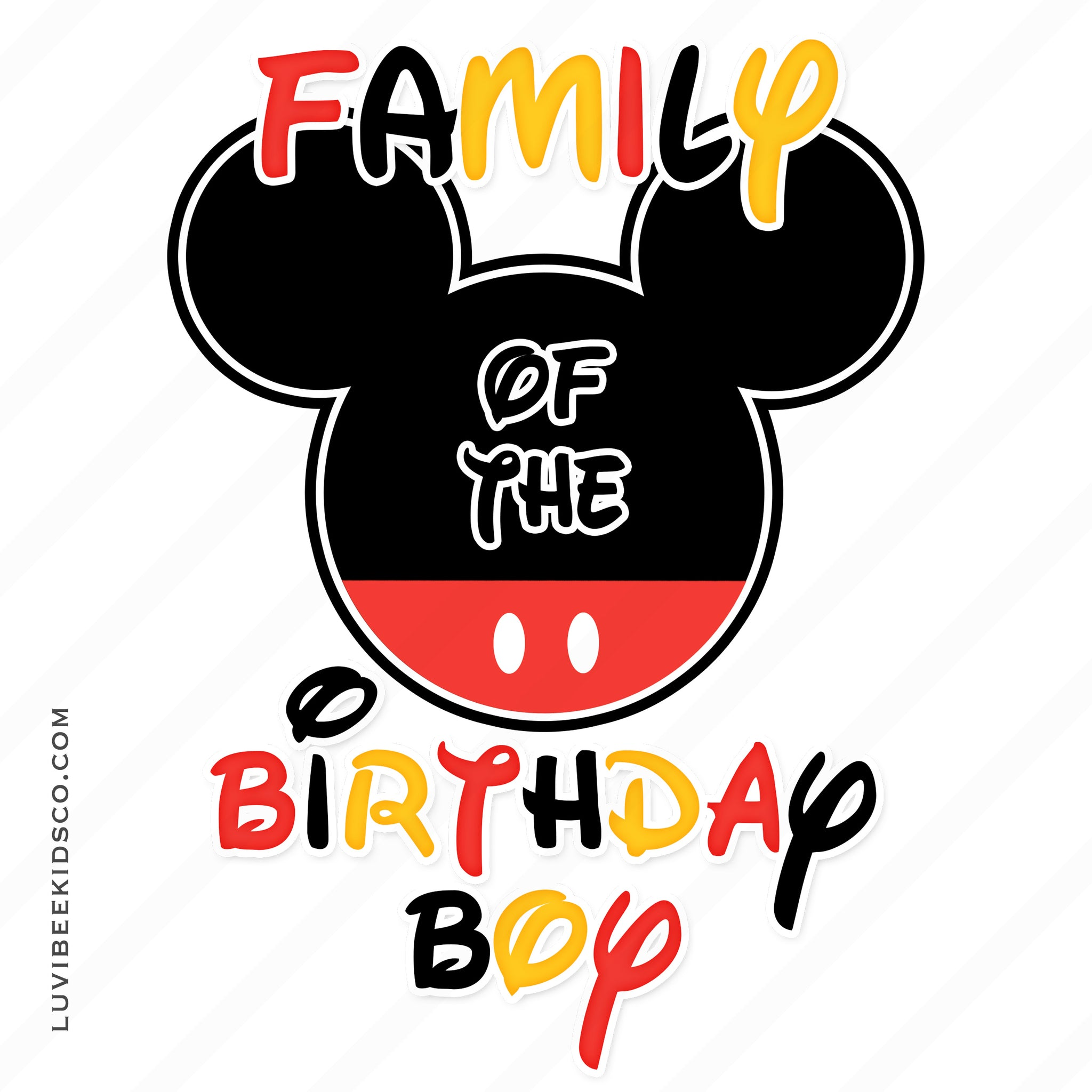Mickey Mouse Iron On Transfer | Add Family Members | Mickey Ears - LuvibeeKidsCo