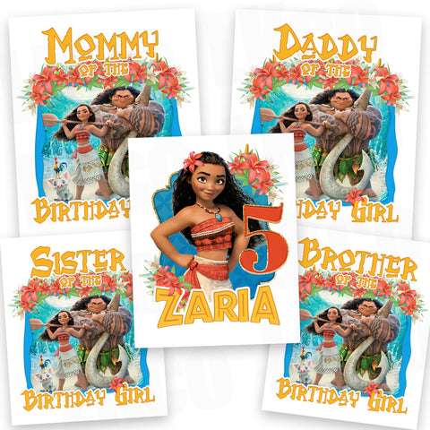 Moana Iron On Transfers Family Pack