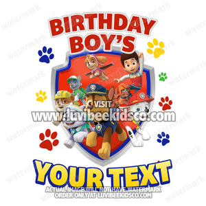 Paw Patrol Iron On Transfer | Primary Colors Paw Prints | Family Members Add-on - LuvibeeKidsCo