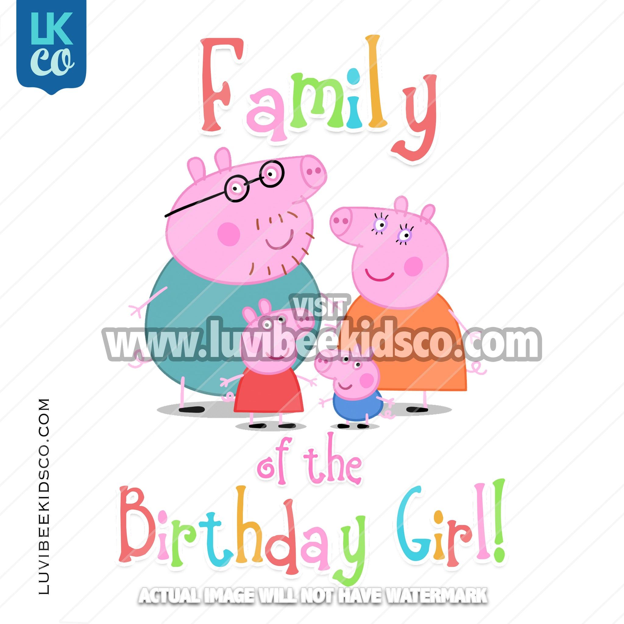 Peppa Pig Iron On Birthday Shirt Transfer | Rainbow - Add Any Name of the Birthday Girl - LuvibeeKidsCo