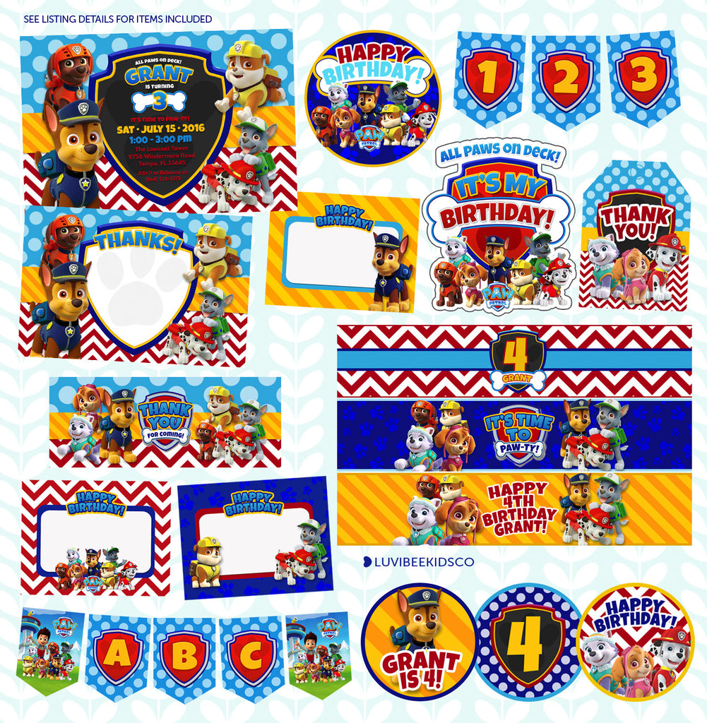 Paw Patrol Birthday Invitation - Printable Birthday Party Pack - Best Value! - LuvibeeKidsCo