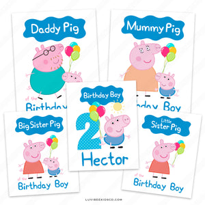 George Pig Iron On Transfers Family Pack | Names and Characters can be Changed - LuvibeeKidsCo