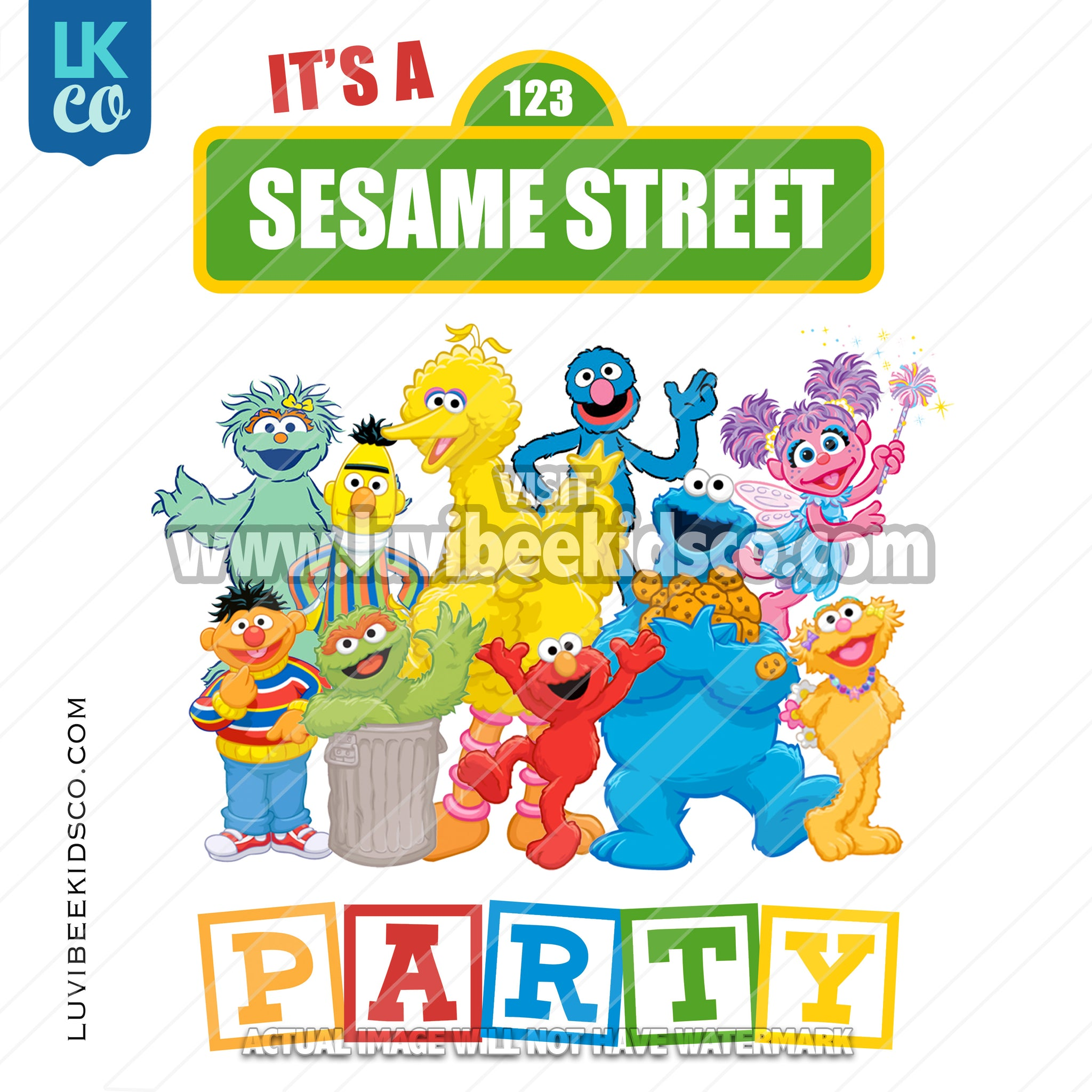 Sesame Street Birthday Iron On Transfer - Sesame Street Party - LuvibeeKidsCo