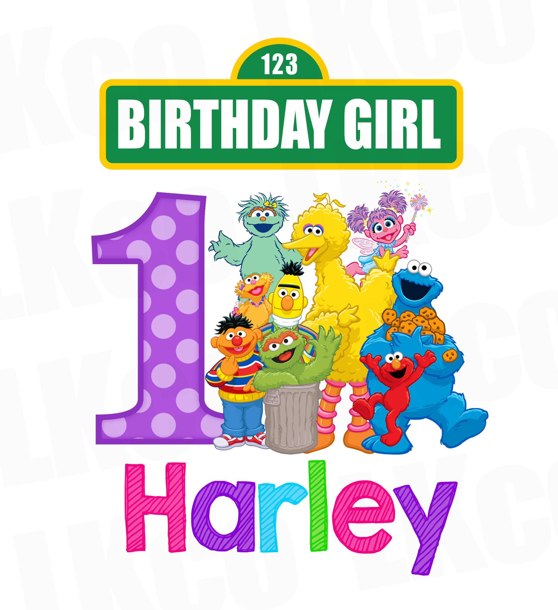 Sesame Street Birthday Iron On Transfer - Girl Colors ...