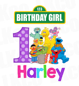 Sesame Street Birthday Iron On Transfer - Girl Colors | Birthday Girl