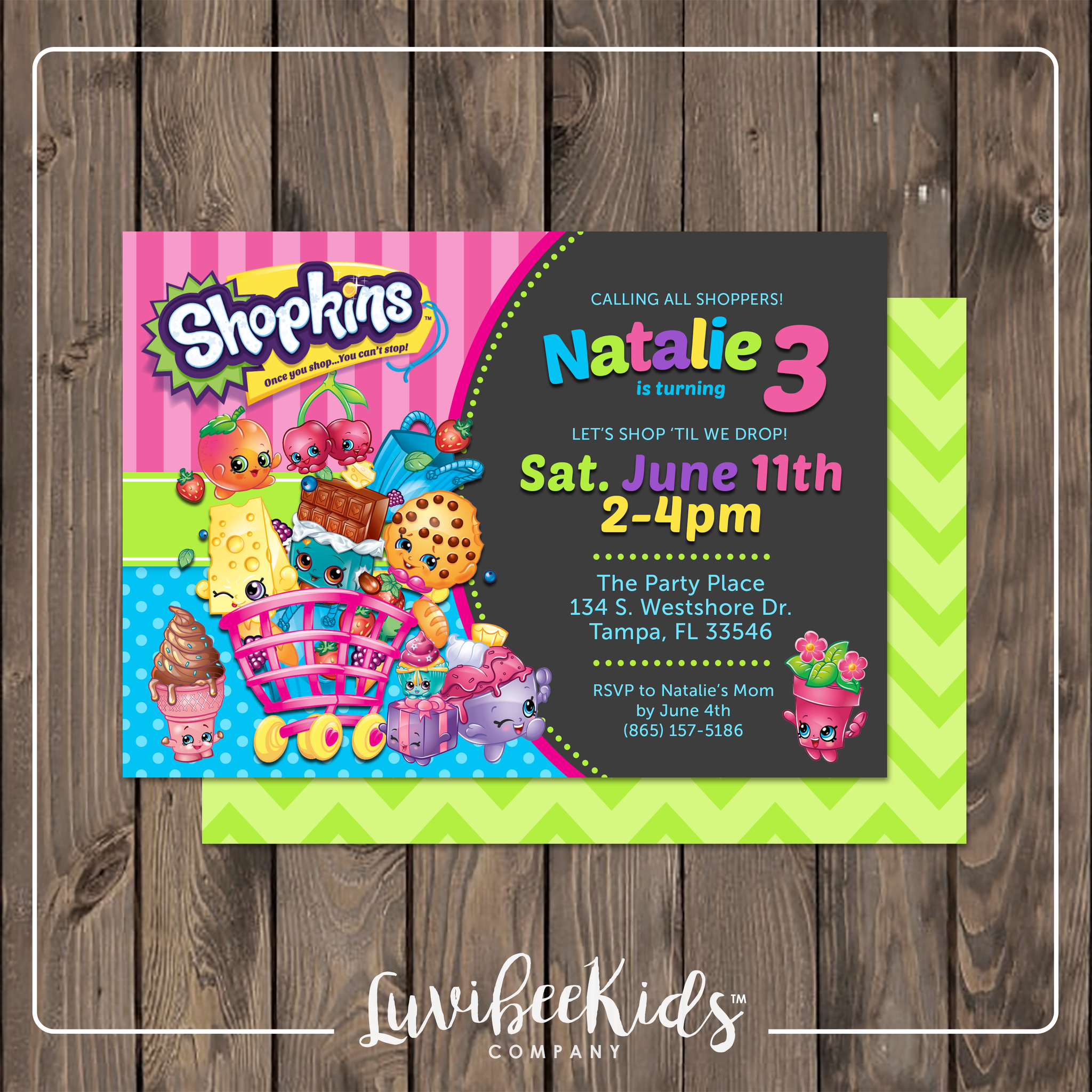 Shopkins Invitation | Printable Birthday Invitation - LuvibeeKidsCo