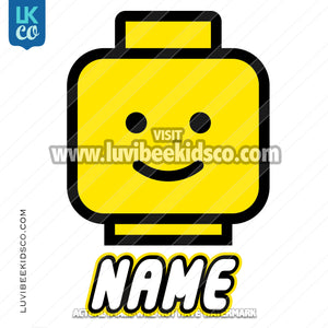 Lego Iron On Transfer | Lego Head with Name - LuvibeeKidsCo