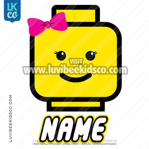 Lego Iron On Transfer | Girl - Pink Bow - LuvibeeKidsCo