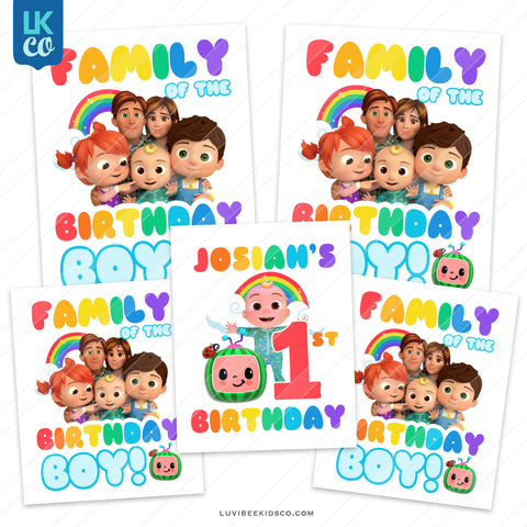 Cocomelon Inspired Heat Transfer Designs - Family Pack - Birthday Boy