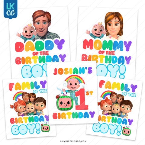 Cocomelon Inspired Heat Transfer Designs - Family Pack - Birthday Boy - Style 2