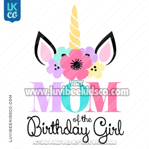 Unicorn Iron On Transfer | Flowers - Style 2 - Mom - LuvibeeKidsCo