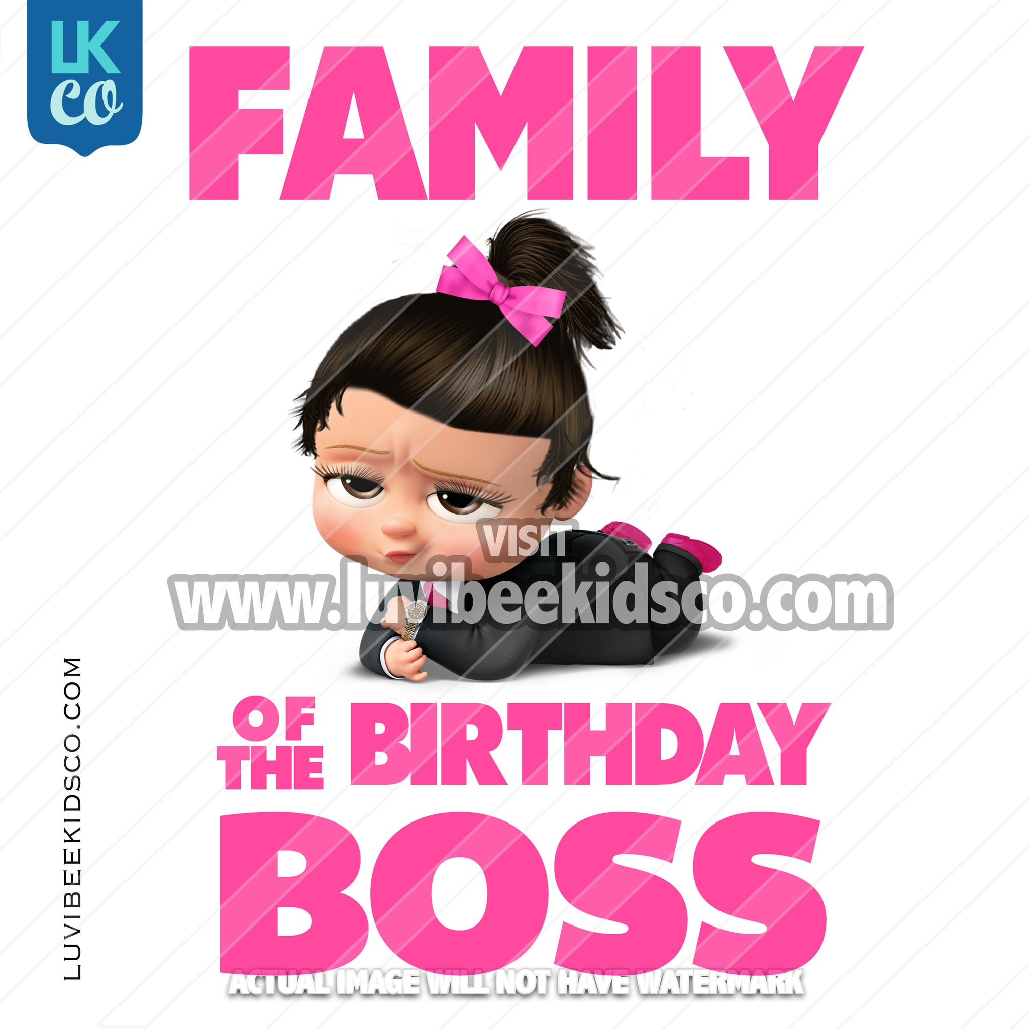 Boss Baby Iron On Transfer | Family of the Birthday Boss - Pink Baby Girl with Bow - LuvibeeKidsCo