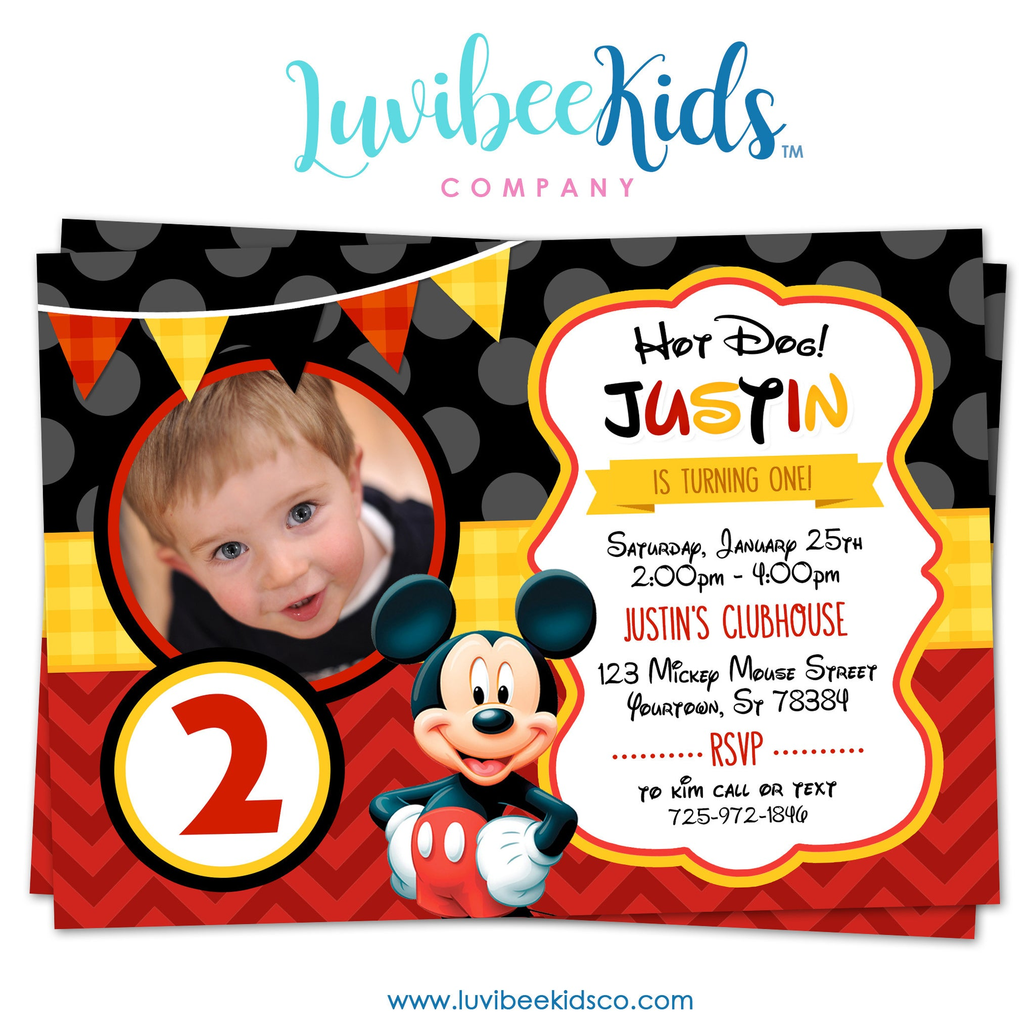 Mickey Mouse Birthday Invitation - Printable Invite - Style #03 - LuvibeeKidsCo