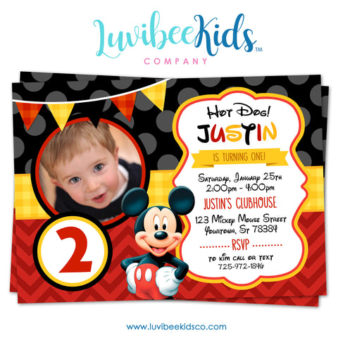 Mickey Mouse Birthday Invitation - Printable Invite - Style #03