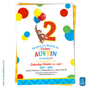 Curious George Invitation with Backside Image | Primary Color Dots - LuvibeeKidsCo