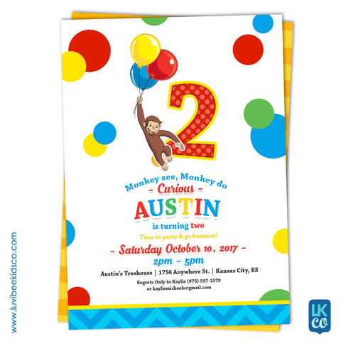 Curious George Invitation with Backside Image | Primary Color Dots