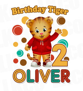 Daniel Tiger Iron On Transfer | Yellow Turquoise & Red | Birthday Tiger - LuvibeeKidsCo