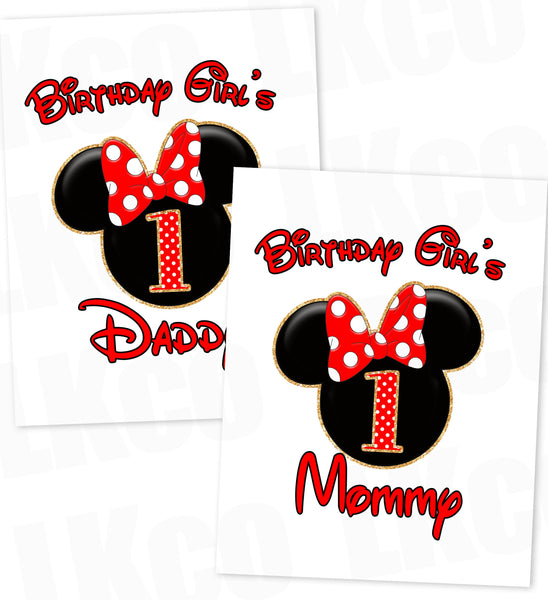 Minnie Mouse Iron On Transfer | Red & Black | Mom & Dad of the Birthday Girl Set - LuvibeeKidsCo