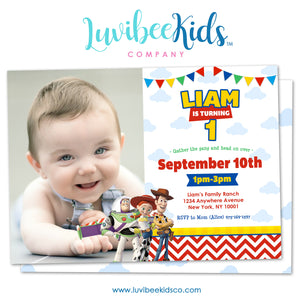 Toy Story Invitation with Photo & Free Backside Image - LuvibeeKidsCo