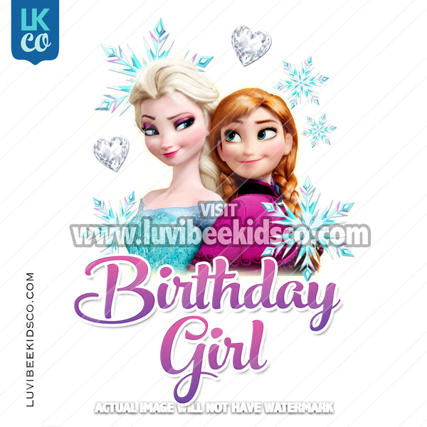 Frozen Iron On Transfer | Elsa & Anna | Birthday Girl - LuvibeeKidsCo