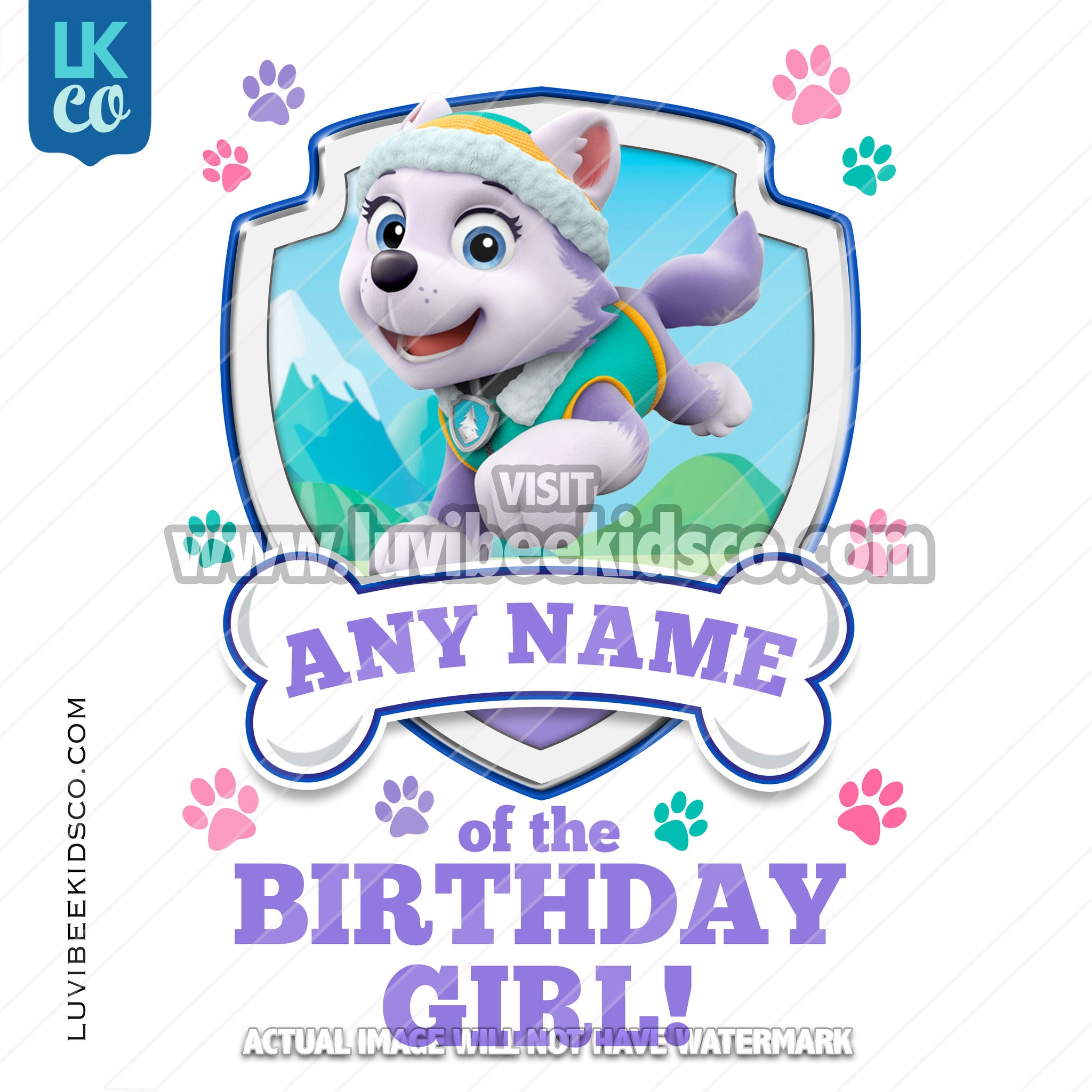 Paw Patrol - Purple Everest Family Member of the Birthday Girl - LuvibeeKidsCo