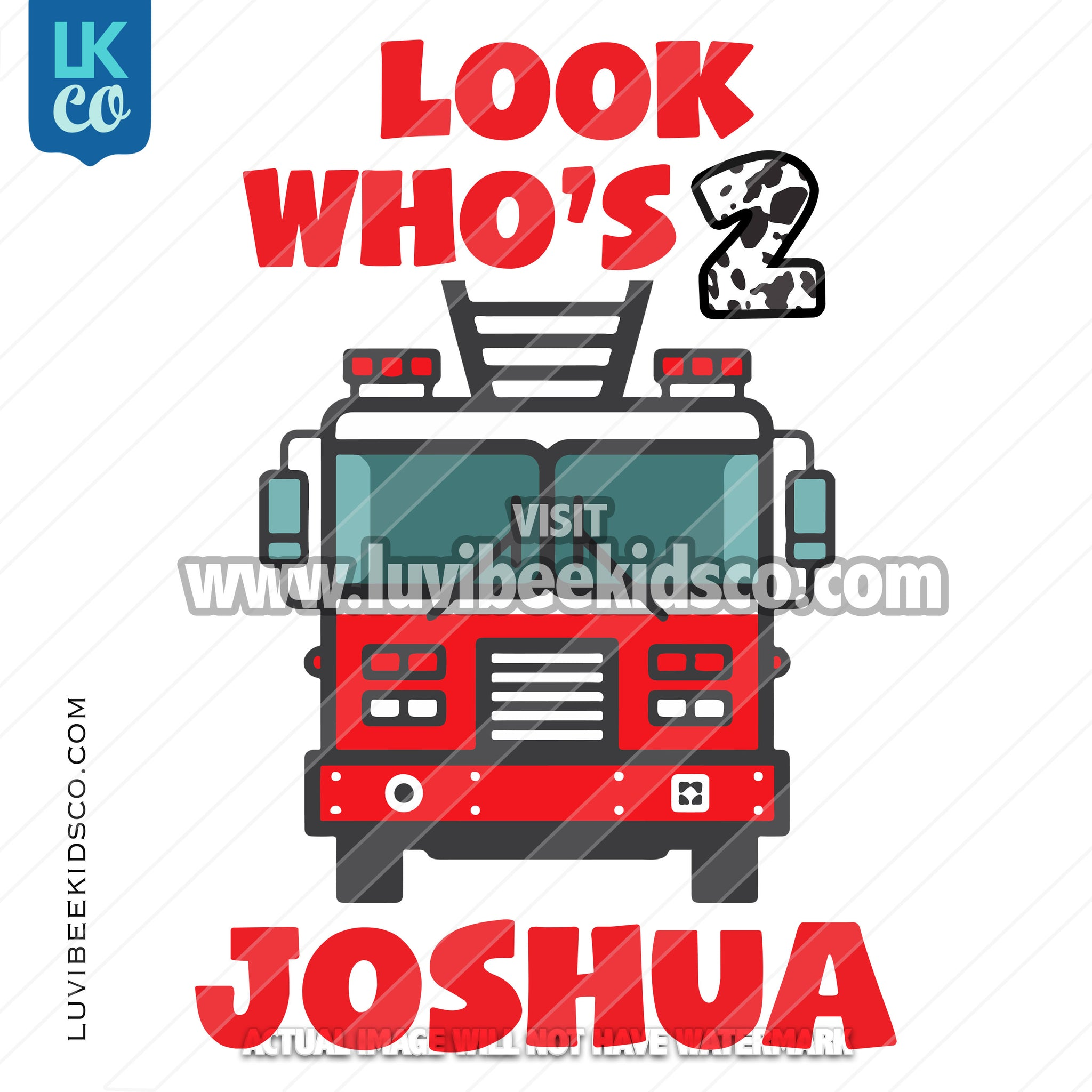 Firetruck Heat Transfer Design - Look Who's - LuvibeeKidsCo