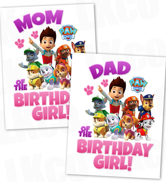 Paw Patrol Iron On Transfer - Pink & Purple | Mom & Dad of the Birthday Girl Set - LuvibeeKidsCo