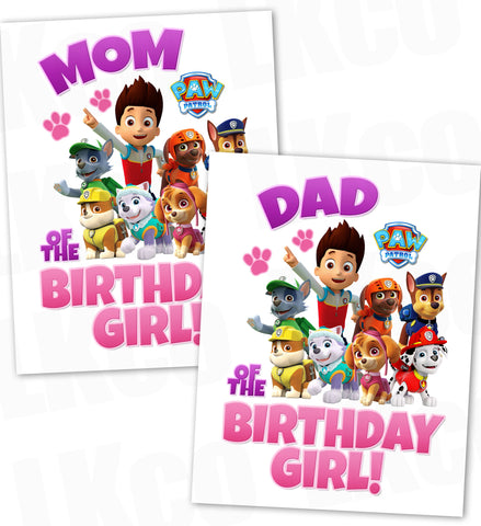 Paw Patrol Iron On Transfer - Pink & Purple | Mom & Dad of the Birthday Girl Set