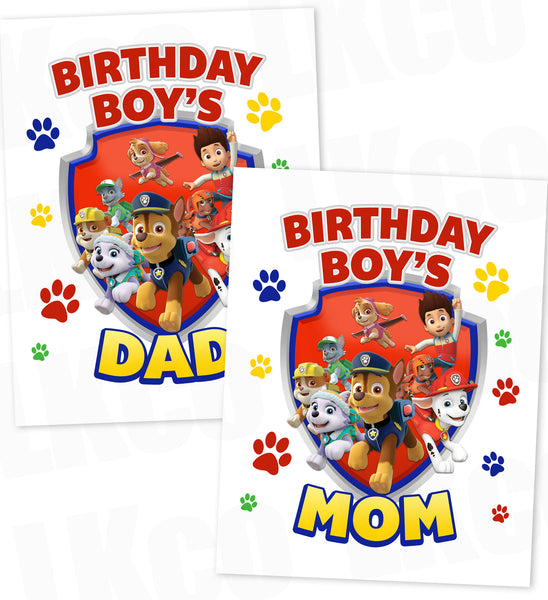 Paw Patrol Iron On Transfer | Primary Colors | Mom & Dad Set
