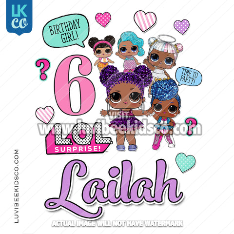 LOL Surprise Iron On Transfer Design | Birthday Girl - Glam Glitter Afro Dolls - LuvibeeKidsCo