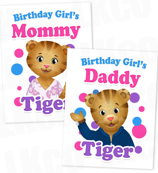 Daniel Tiger Iron On Transfer | Pink - Birthday Girl's Mommy & Daddy Tiger Set - LuvibeeKidsCo