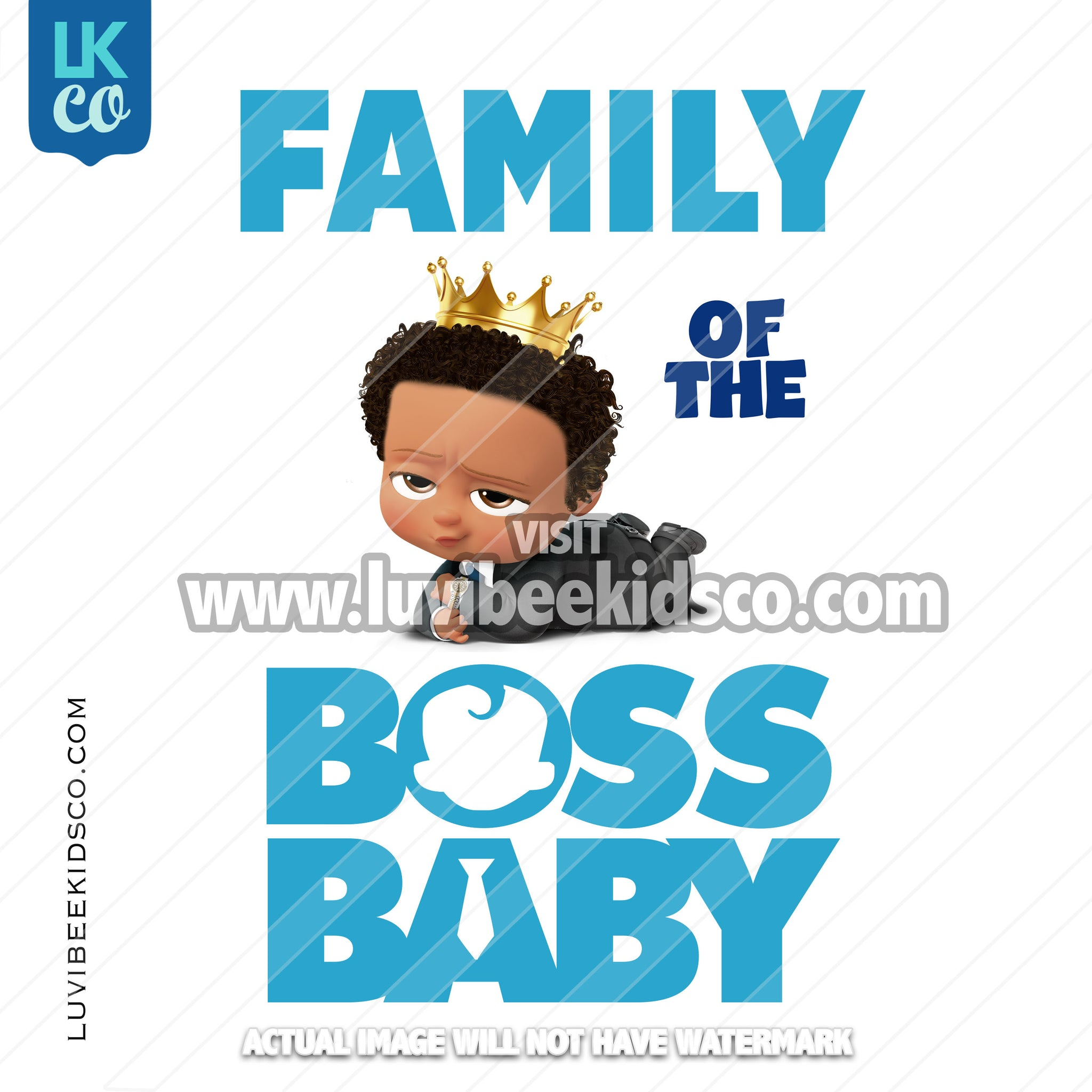 Boss Baby Iron On Transfer | Family of the Birthday Boss - Afro Boy - Crown - LuvibeeKidsCo