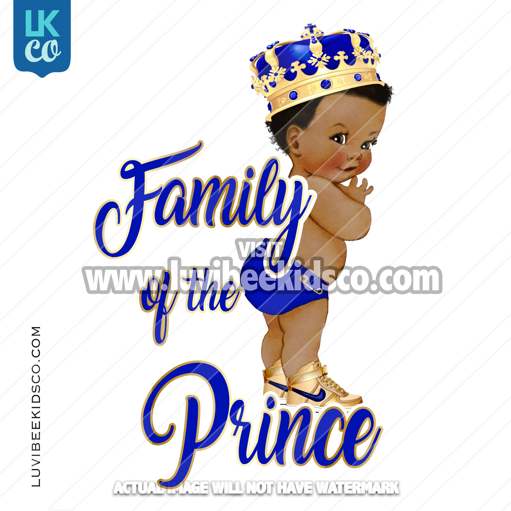 Royal Prince Baby Shower Iron On Transfer Design | Add Family Members - LuvibeeKidsCo