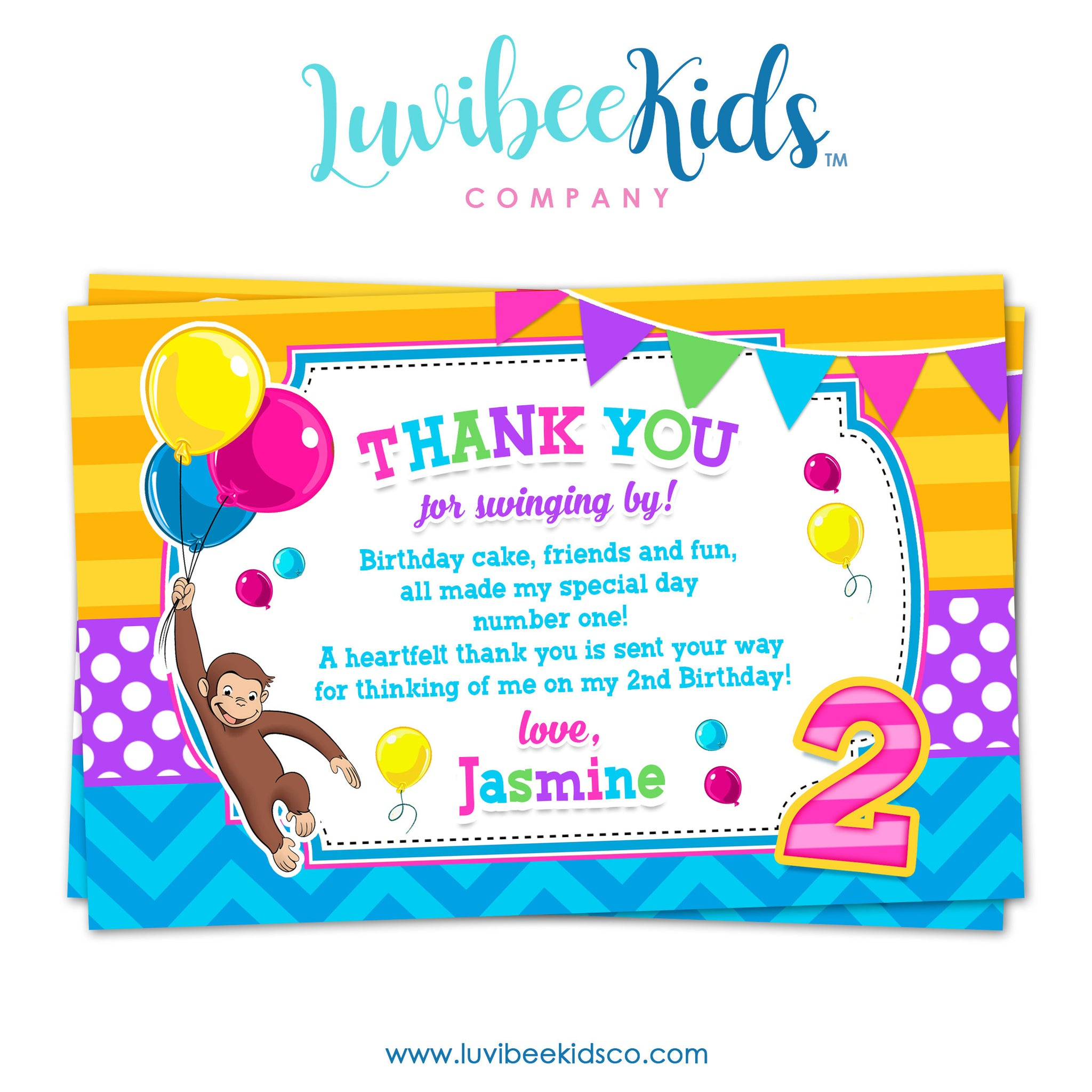 Curious George Thank You Card, Personal Message & Postcard Style for Girls - LuvibeeKidsCo
